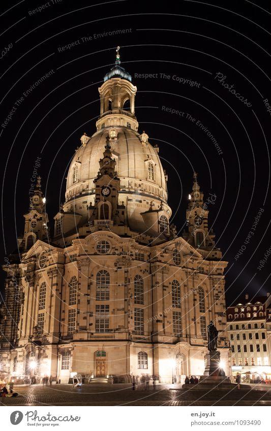 Veränderungen Ferien & Urlaub & Reisen Tourismus Ausflug Sightseeing Städtereise Nachthimmel Dresden Sachsen Deutschland Europa Stadt Hauptstadt Kirche Bauwerk
