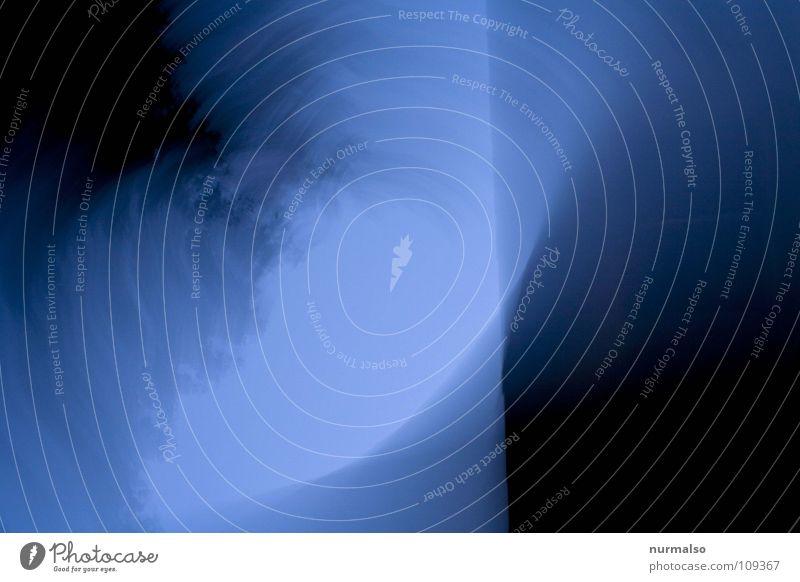 Blaue Bewegung grau schwarz drehen umfallen lügen Baum rund abstrakt modern blau Schwindelnd Linie oben Himmel