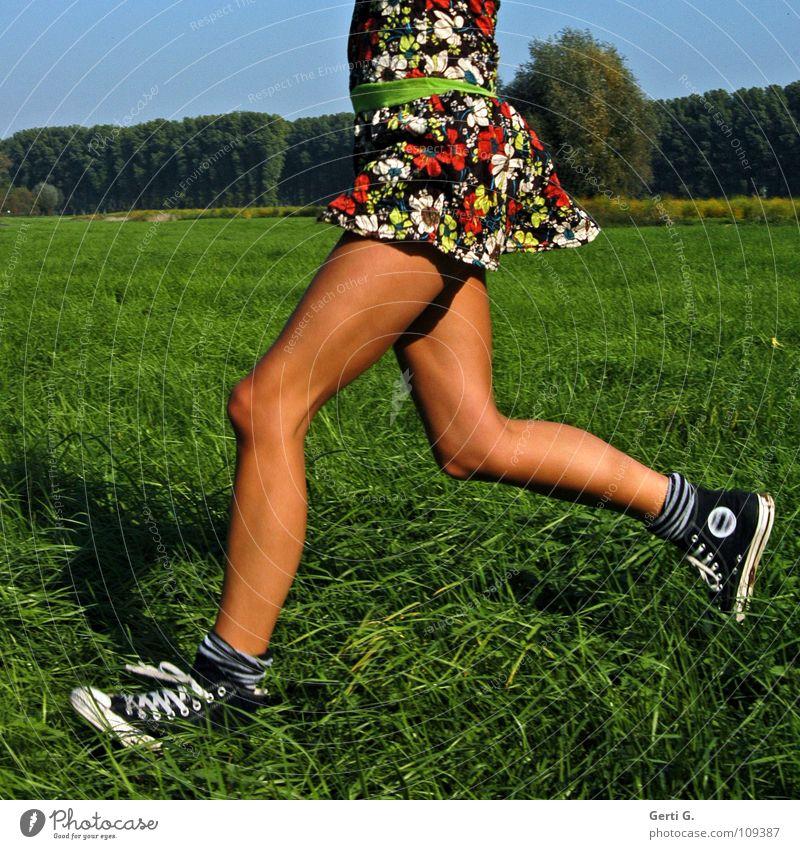 ja wo läuft sie denn? Joggen Kleid Frau Junge Frau dünn fest drahtig Gesundheit Freizeit & Hobby Wiese 100 Meter Lauf rennen Chucks braun Sommer sommerlich