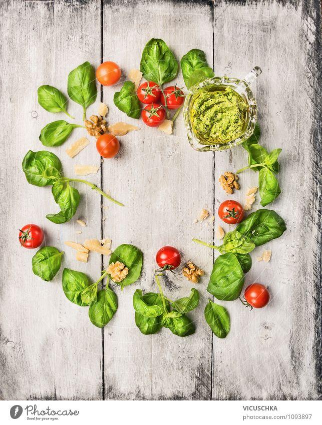 Basilikum Pesto Zutaten Lebensmittel Gemüse Ernährung Mittagessen Bioprodukte Vegetarische Ernährung Diät Italienische Küche Stil Design Gesunde Ernährung Tisch