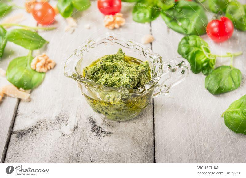 Basilikum Pesto in Glas Lebensmittel Gemüse Kräuter & Gewürze Ernährung Mittagessen Bioprodukte Vegetarische Ernährung Italienische Küche Tasse Stil Design