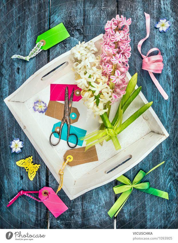 Frühlingblumen Dekoration basteln Natur blau Pflanze grün weiß Blume gelb Innenarchitektur Stil Holz Feste & Feiern Garten rosa Lifestyle Design