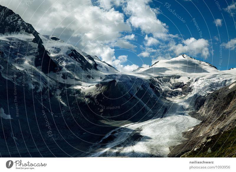 Pasterze Gletscher am Grossglockner Umwelt Natur Landschaft Himmel Wolken Sommer Klimawandel Wärme Alpen Gipfel Schneebedeckte Gipfel Schlucht gigantisch groß