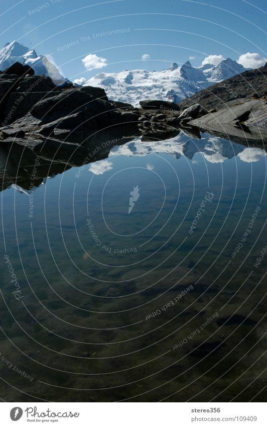 Ober-flächlich See Gebirgssee alpin Reflexion & Spiegelung Wolken Gletscher Schweiz Engadin Berge u. Gebirge Blauer Himmel Wasser Schnee Alpen Reflektion