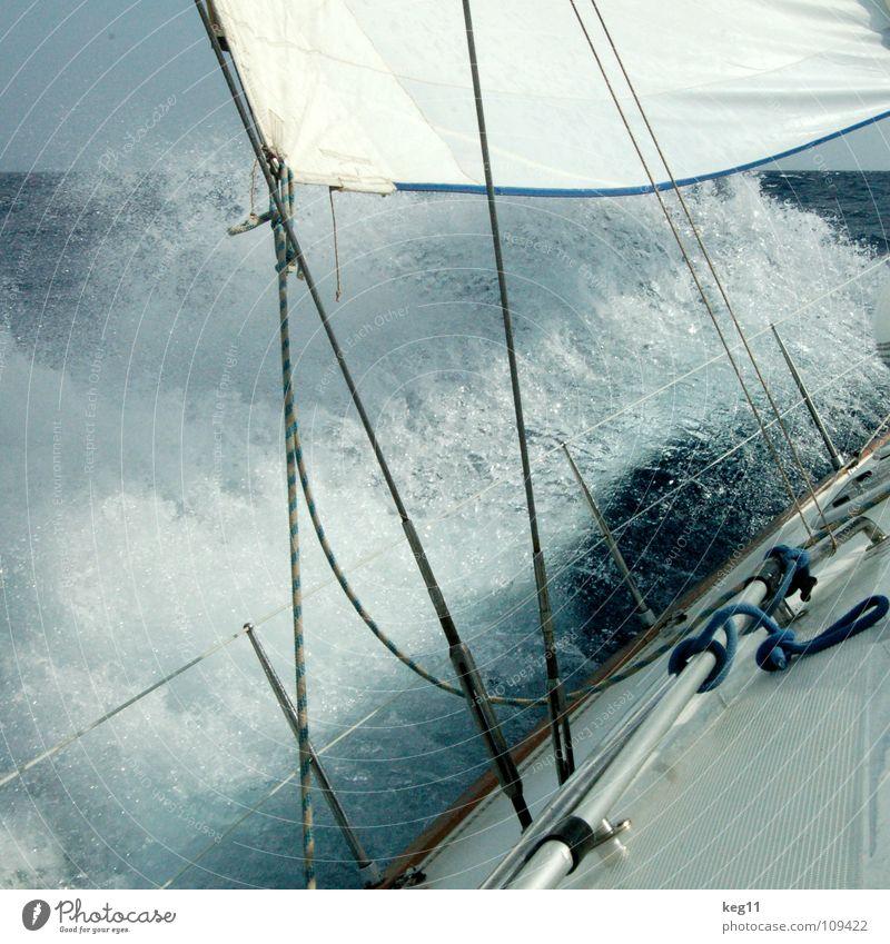 Seekrank II blau Wasser Ferien & Urlaub & Reisen weiß Sommer Meer Strand Freude Wolken Erholung Fenster Berge u. Gebirge Bewegung Küste Sand Mauer