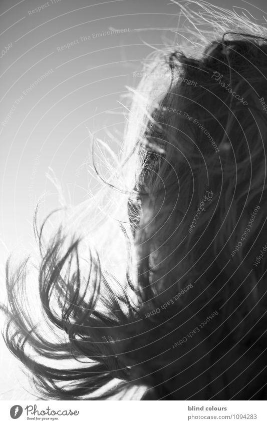 souffler Kunst ästhetisch Zufriedenheit Wind Haare & Frisuren wehen viele Frau Frauenkopf Haarschnitt Haarschopf Haarpflege Sonne Sommer Schwarzweißfoto