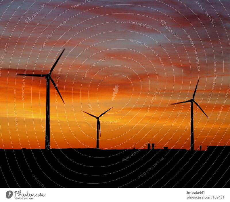 windschatten Windkraftanlage Sonnenuntergang schwarz rot Horizont Dämmerung Elektrizität Erneuerbare Energie drehen Umwelt Umweltschutz Industrie Kraft Himmel