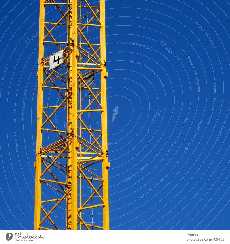 Building Crane No 4 gelb Kran Baukran Ziffern & Zahlen Baustelle bauen Erfinden Konstruktion Arbeiter Bauarbeiter lang schwer Gewicht Stahl streben Industrie