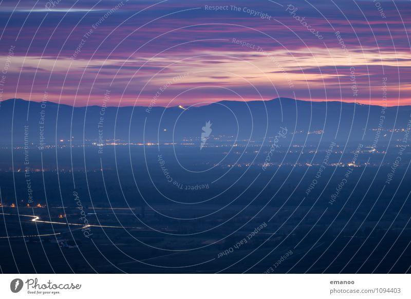 Landschaftslichter Ferien & Urlaub & Reisen Tourismus Ferne Berge u. Gebirge Umwelt Natur Himmel Wolken Horizont Herbst Klima Wetter Schönes Wetter Nebel Feld