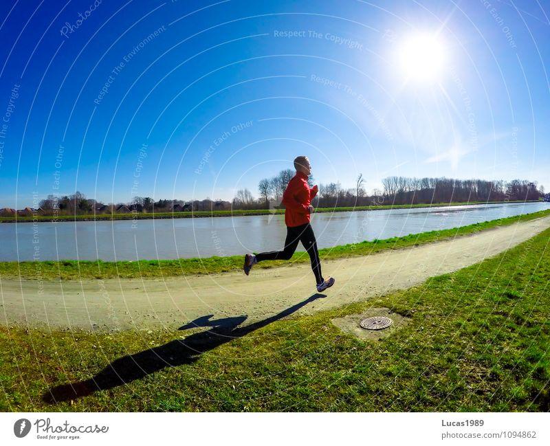 Joggen Mensch Natur Jugendliche Mann Junger Mann 18-30 Jahre Erwachsene Herbst Bewegung Wiese Frühling Sport lachen maskulin Zufriedenheit Kraft