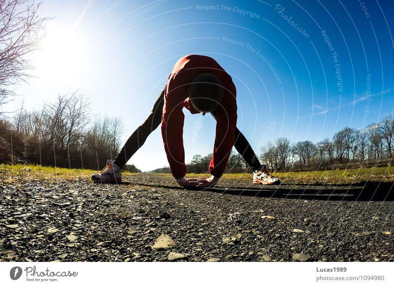 Dehnen Sport Fitness Sport-Training Leichtathletik Sportveranstaltung Joggen Laufsport dehnen streching lockern üben Mensch maskulin Junger Mann Jugendliche