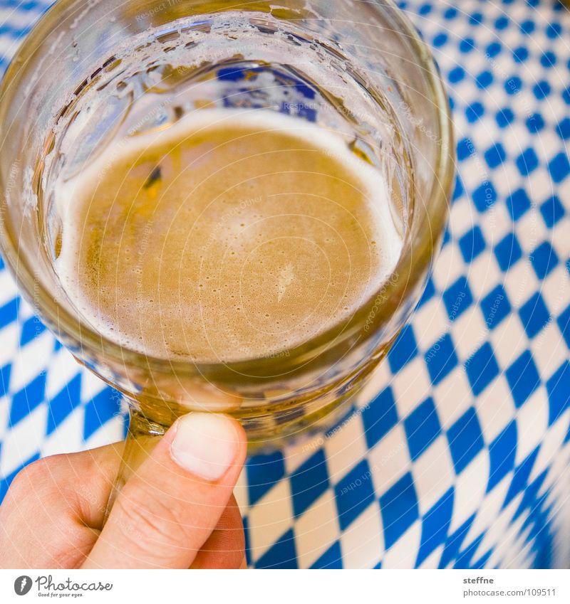 Prost! Bier trinken Bayern Oktoberfest weiß gelb Hand Bierglas Daumen Schaum Erfrischung blond München Stimmung Jahrmarkt Weizen umgänglich Biergarten Humpen