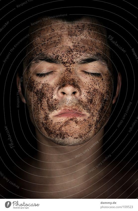******************* black or schwarz weiß Nasenloch Lippen Wimpern Augenbraue Porträt böse dunkel schlafen Makroaufnahme Nahaufnahme Mann Langeweile withe Farbe