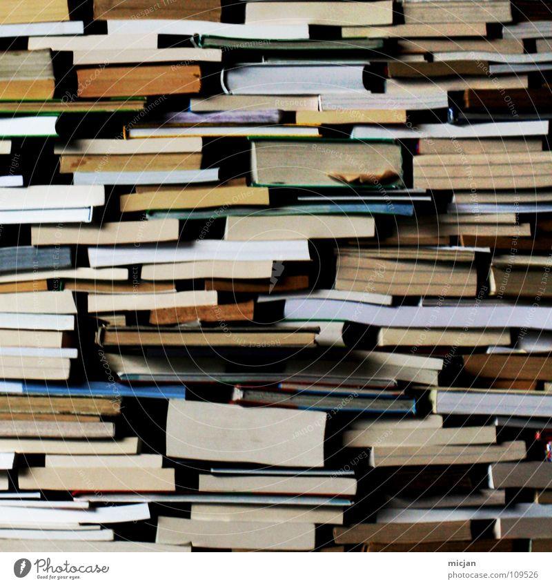 Literarisches Quartet IV Anhäufung Haufen Stapel Bücherstapel Buch Sammlung Lesestoff lesen Information Bildung Printmedien Altpapier analog Haptik Wissen