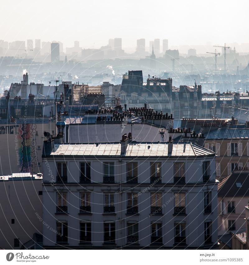 Weltstadt Ferien & Urlaub & Reisen Ausflug Sightseeing Städtereise Klima Klimawandel Schönes Wetter Paris Stadt Hauptstadt Stadtzentrum Skyline Haus Hochhaus