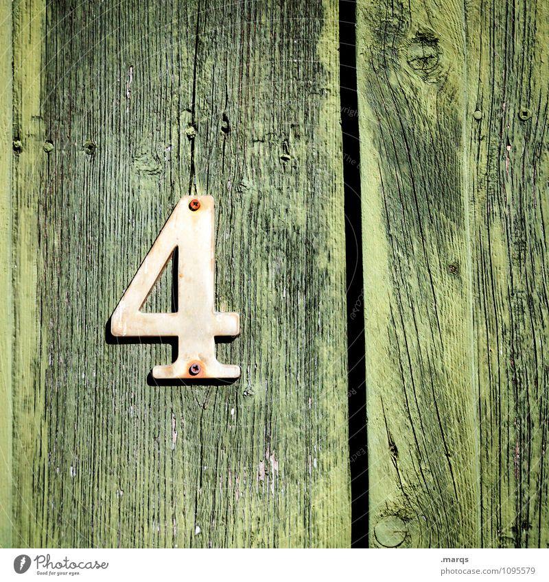 4 Stil Mauer Wand Holzwand Ziffern & Zahlen alt grün Verfall Wandel & Veränderung Lebensalter Geburtstag Hausnummer Farbfoto Außenaufnahme Nahaufnahme