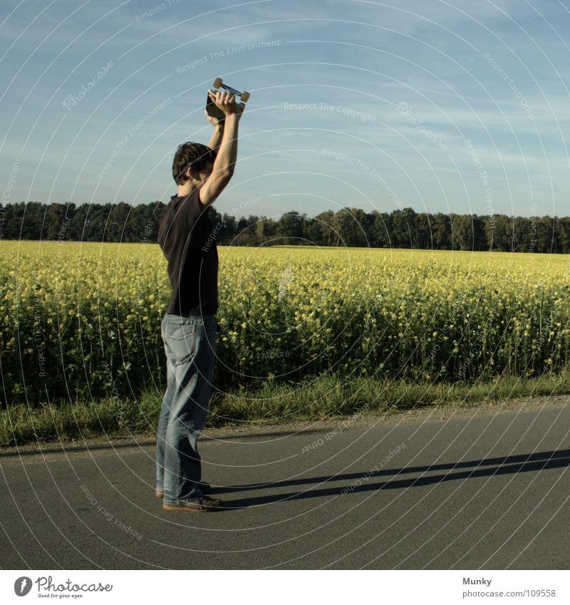 Skater Two Himmel Mann blau Hand Pflanze Freude Wolken schwarz Straße Wiese Spielen Gefühle Bewegung Stein Blüte Beine