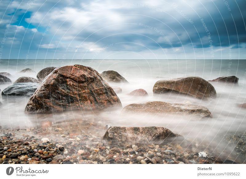 Rocks Natur Landschaft Erde Luft Wasser Himmel Wolken Horizont Wetter schlechtes Wetter Wind Küste Ostsee Meer blau braun schwarz weiß Stein Farbfoto