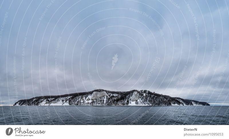 Ayers Rock Natur Landschaft Wasser Himmel Wolken Gewitterwolken Winter Klima Wetter schlechtes Wetter Wind Schnee Küste Ostsee Meer blau schwarz weiß Rügen