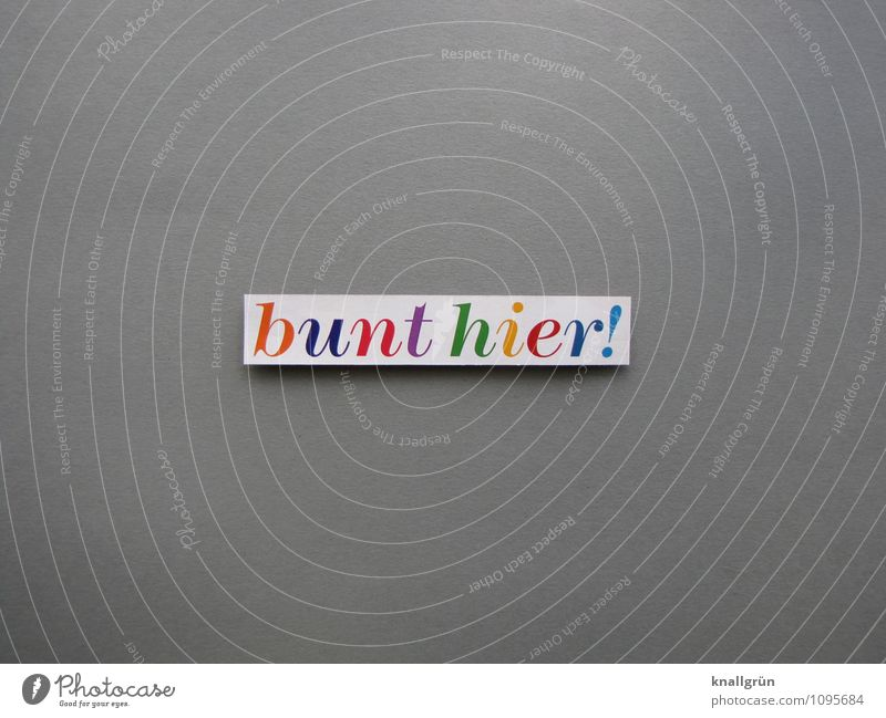 bunt hier! Farbe Freude Gefühle grau Schilder & Markierungen Schriftzeichen Kreativität Kommunizieren eckig