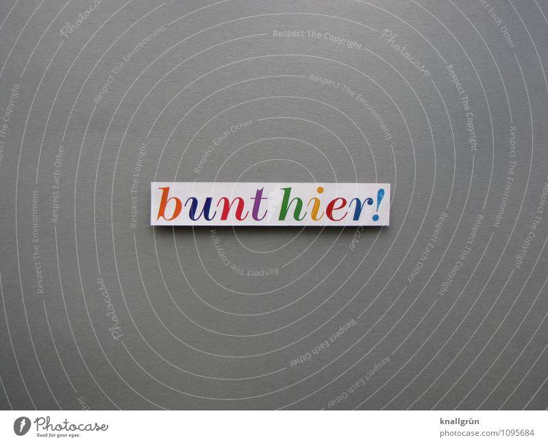 bunt hier! Schriftzeichen Schilder & Markierungen Kommunizieren eckig mehrfarbig grau Gefühle Freude Farbe Kreativität Farbfoto Studioaufnahme Menschenleer