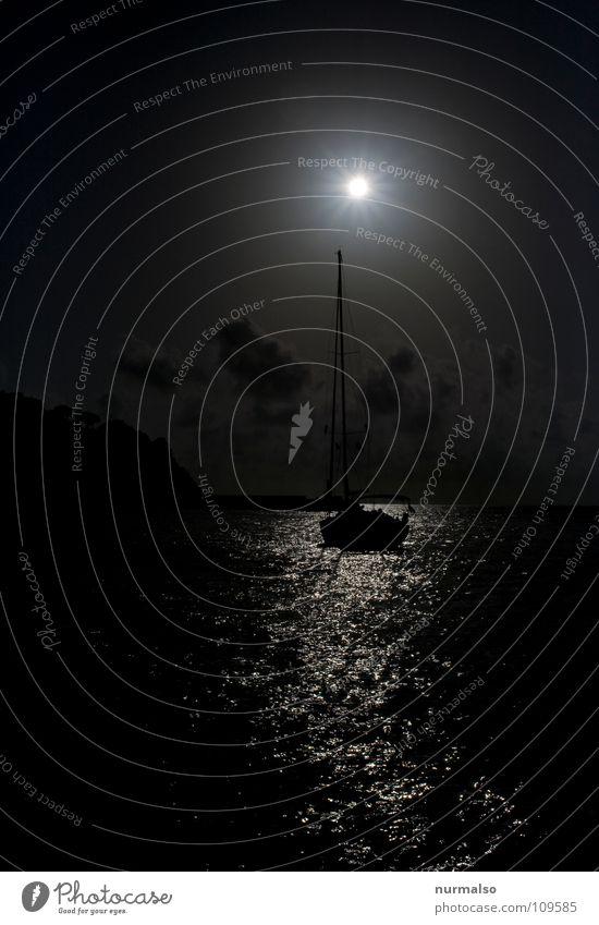 Black Sun Wasserfahrzeug Segeln Segelboot Sonnenaufgang Gegenlicht Reflexion & Spiegelung mystisch schwarz Wolken Stimmung Meer ankern Erholung