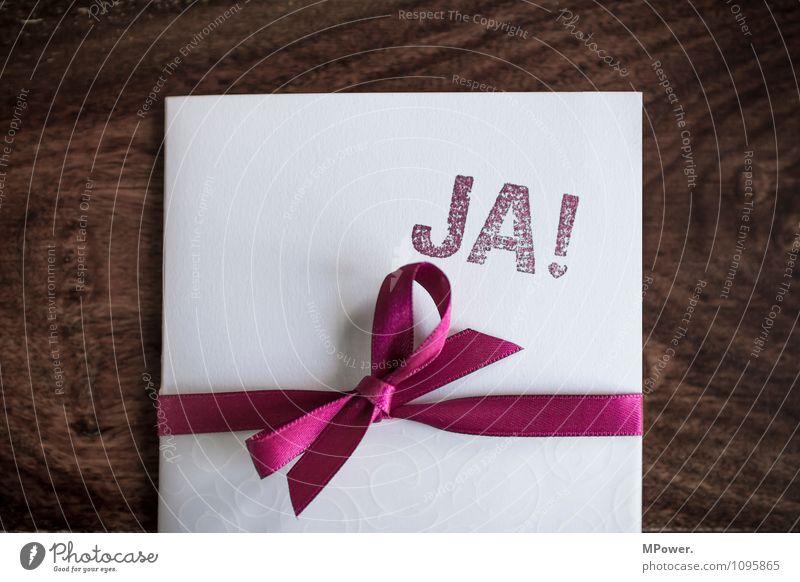 JA! Schreibwaren Papier Zettel Stempel Poststempel Zeichen Schriftzeichen Ornament braun rot weiß Einladung Schleife Postkarte Hochzeit Tisch Zusammensein