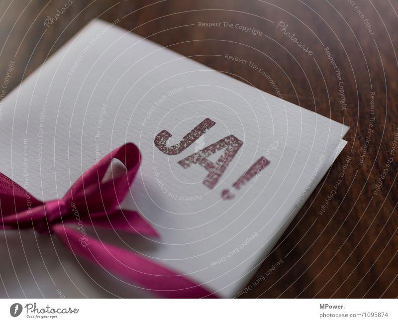 Missverständnis   JA! Tisch Hochzeit Schreibwaren Papier Zettel Stempel Schleife Zeichen Schriftzeichen Ornament Zusammensein braun rot weiß Poststempel