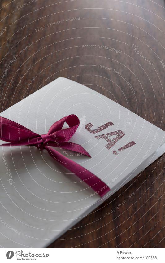 JA! Schreibwaren Papier Zettel Stempel Zeichen Schriftzeichen Ornament braun rot weiß Einladung Schleife Postkarte Hochzeit Tisch Zusammensein Verlobung