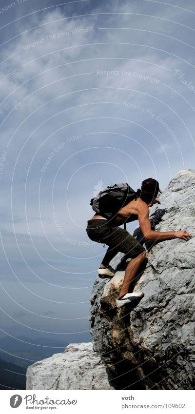 free climbing Sommer Wolken Puma gefährlich Österreich Sport Spielen Klettern Berge u. Gebirge Kraft bedrohlich