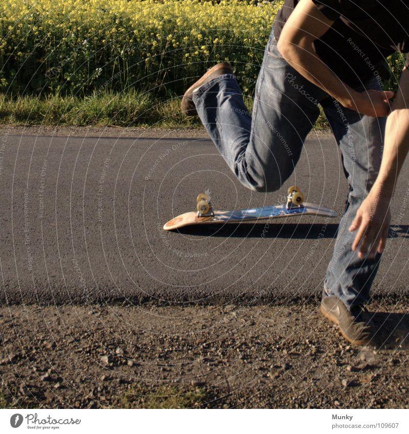 Skater Four Mann blau Hand Pflanze Freude Blatt Wolken schwarz Straße Wiese Sport Spielen Gefühle Bewegung Stein Blüte