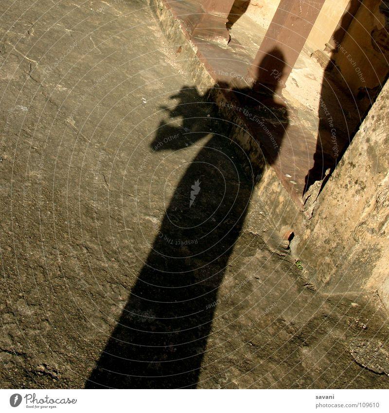Schatten mit wehendem Tuch Freude Sonne Frau Erwachsene Luft Wind Wärme Schal Stein braun gelb gold Physik Halstuch Indien eine Person im Wind wehen