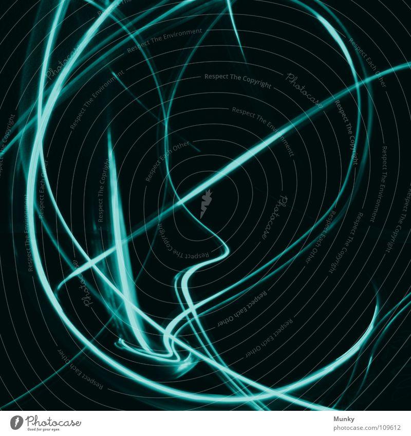 Achterbahn II (Gesicht) grün blau rot Freude schwarz dunkel Bewegung Lampe lustig Angst Beleuchtung Hintergrundbild Eisenbahn Geschwindigkeit Kreis