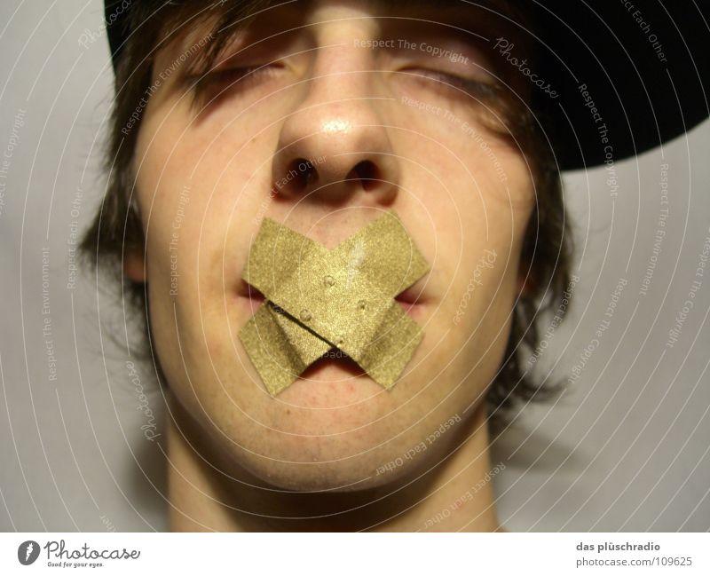 psst... Heftpflaster schweigen geschlossene Augen Lippen Baseballmütze Kommunizieren gold Gesicht ruhig schweigen ist gold Nase