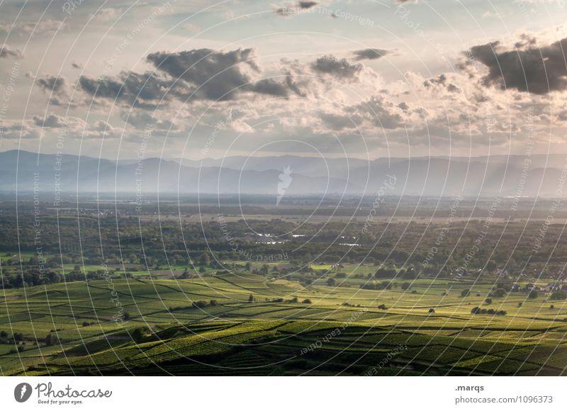 Rheintal Tourismus Ausflug Umwelt Natur Landschaft Himmel Wolken Horizont Klima Schönes Wetter Feld Hügel Weinbau Weingut Sonnenstrahlen Erholung schön Stimmung