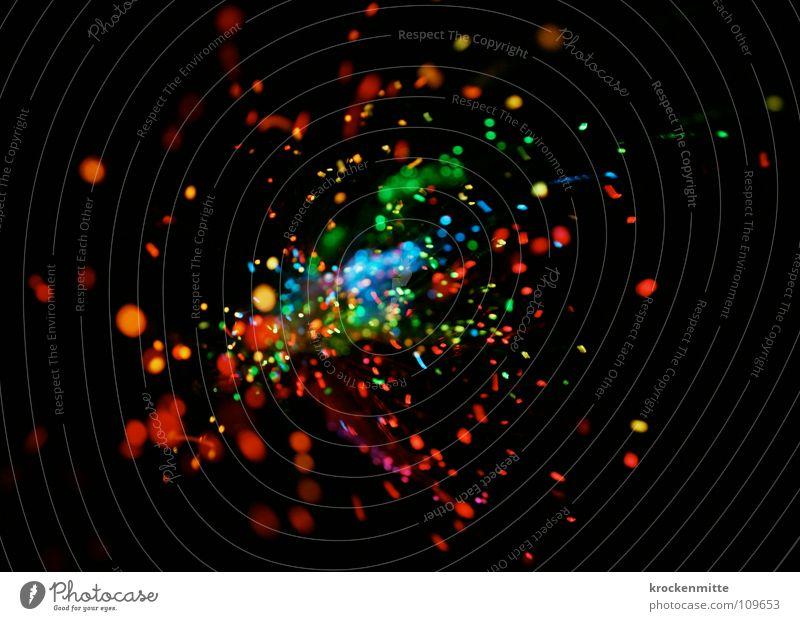 Farbexplosion Licht abstrakt Kreis Nacht rot grün gelb Lichtpunkt Explosion Farbfleck mehrfarbig Bewegung Lampe Punkt night blau color Wildtier