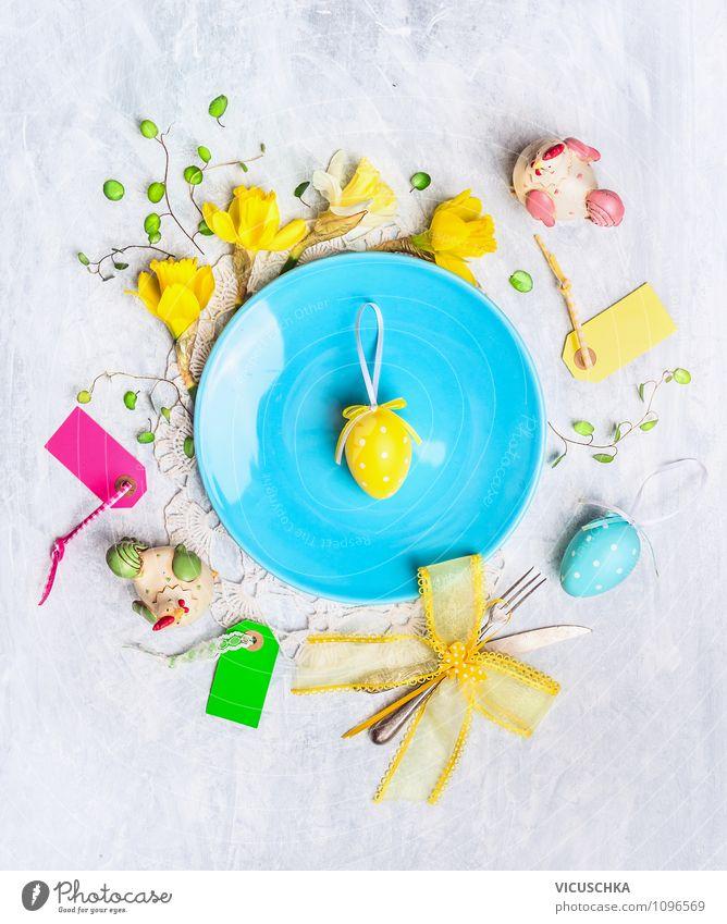 Ostern Dekoration mit Eier und Blumen Teller Besteck Messer Gabel Stil Design Freude Haus Innenarchitektur Dekoration & Verzierung Tisch Feste & Feiern Frühling