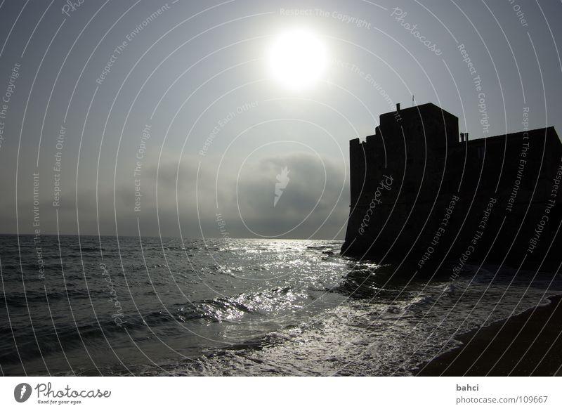 ein Tag am Meer ... Himmel Wasser Sonne Sommer Strand Wolken Ferne dunkel Küste Wellen Brandung Dunst Wasserspiegelung Burgmauer