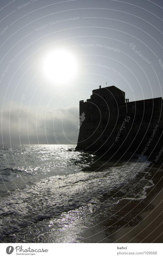 ein Tag am Meer ... Teil 2 Sonne Strand Wellen Wasser Himmel Wolken Küste dunkel Außenaufnahme Menschenleer Licht Schatten Festung Wasserspiegelung