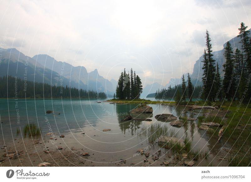 Das ist doch kein l Wetter Maligne Lake See Wasser Nebel Kanada Insel Spirit Island Berge u. Gebirge Rocky Mountains
