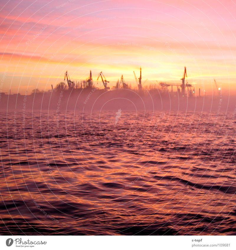 Romantik Pur Sonnenuntergang Abenddämmerung Nebel Reflexion & Spiegelung Hamburger Hafen Wasser Krahn Hafenstimmung Romatik Sonne versinkt im Meer Anlegestelle