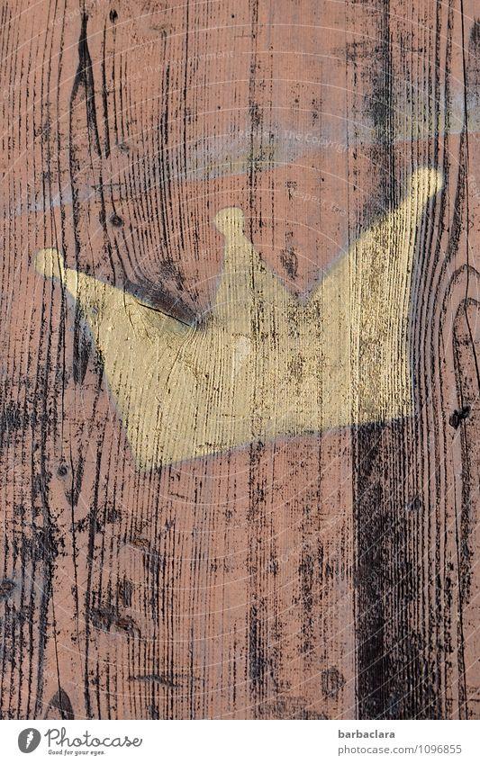 Märchen   Es war einmal ein König Kunst Gemälde Mauer Wand Fassade Holz Zeichen Linie Krone gold Macht Design Kreativität Stolz Farbfoto Außenaufnahme abstrakt