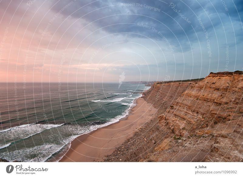 dreamland Umwelt Natur Landschaft Urelemente Sand Wasser Himmel Wolkenloser Himmel Horizont Sonnenaufgang Sonnenuntergang Sommer Schönes Wetter Felsen Wellen