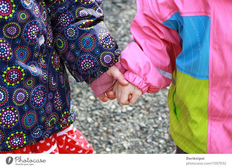 Kinderfreundschaft Mensch Kleinkind Freundschaft Kindheit Hand 2 berühren gehen authentisch einfach Fröhlichkeit Zusammensein niedlich Glück Lebensfreude