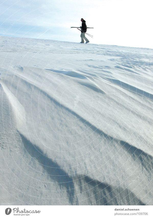 Vorfreude (oder der Schnee wird kommen !!) weiß Freude Winter Ferien & Urlaub & Reisen kalt Schnee grau Landschaft hell Beleuchtung wandern Wind Horizont Perspektive Skifahren Frost