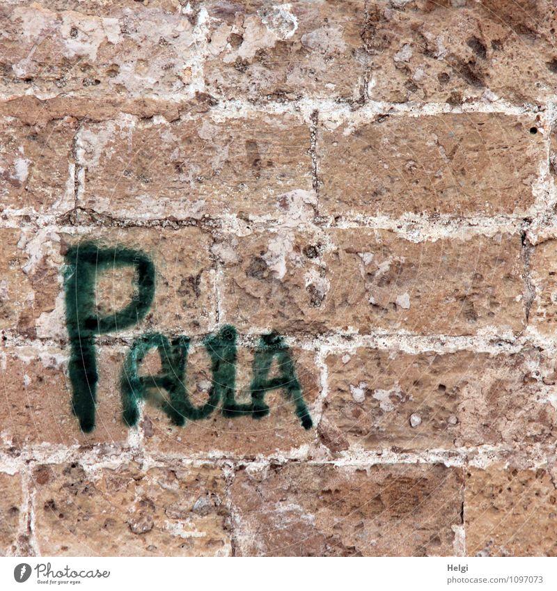 ...war wohl auch da... ;-) Bauwerk Gebäude Mauer Wand Backstein Schriftzeichen alt außergewöhnlich eckig einfach einzigartig feminin braun grau grün Design