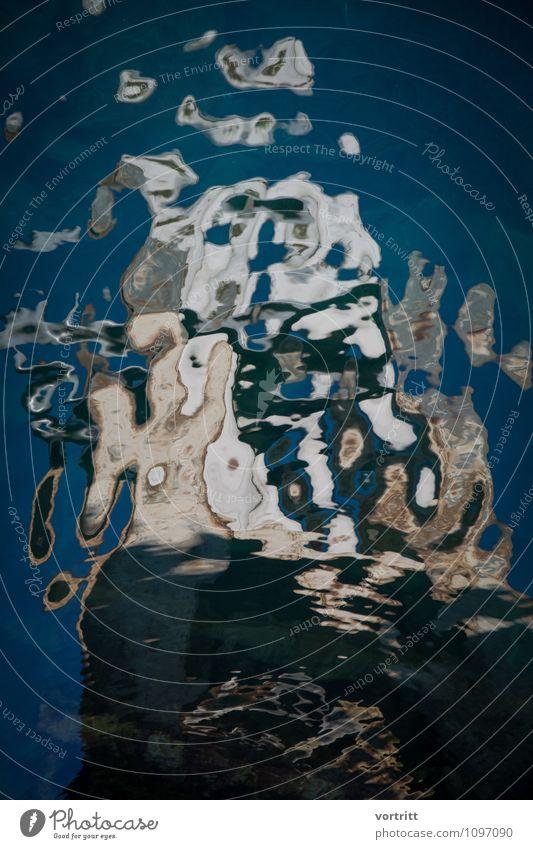 Gemälde der Natur Umwelt Urelemente Wasser Bewegung ästhetisch Flüssigkeit kalt blau braun bizarr Reflexion & Spiegelung Psychedelisch Fragmente Farbfoto