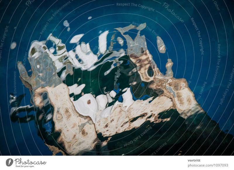 Filter Umwelt Natur Wasser träumen Flüssigkeit blau braun bizarr See Spiegelbild Verzerrung Farbfoto mehrfarbig Experiment abstrakt Textfreiraum rechts Tag