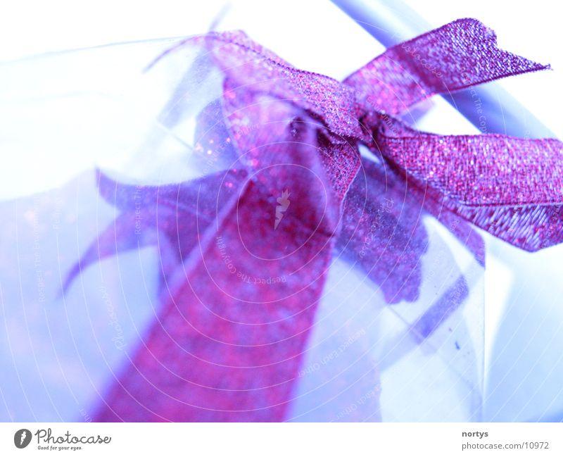 Geschenkt! Schleife Verpackung rot glänzend Makroaufnahme Nahaufnahme verpackt blau Valentinstag