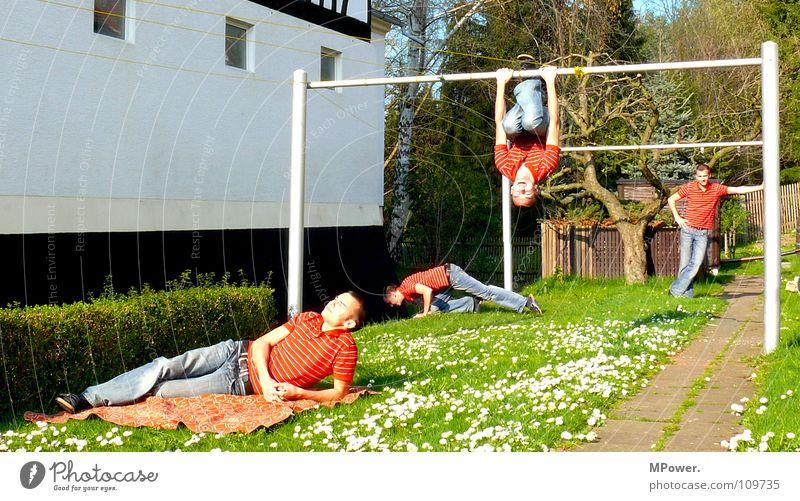 Mach4 Mann Geschwindigkeit Sonnenbad lässig Hinterhof Zwilling Klonen